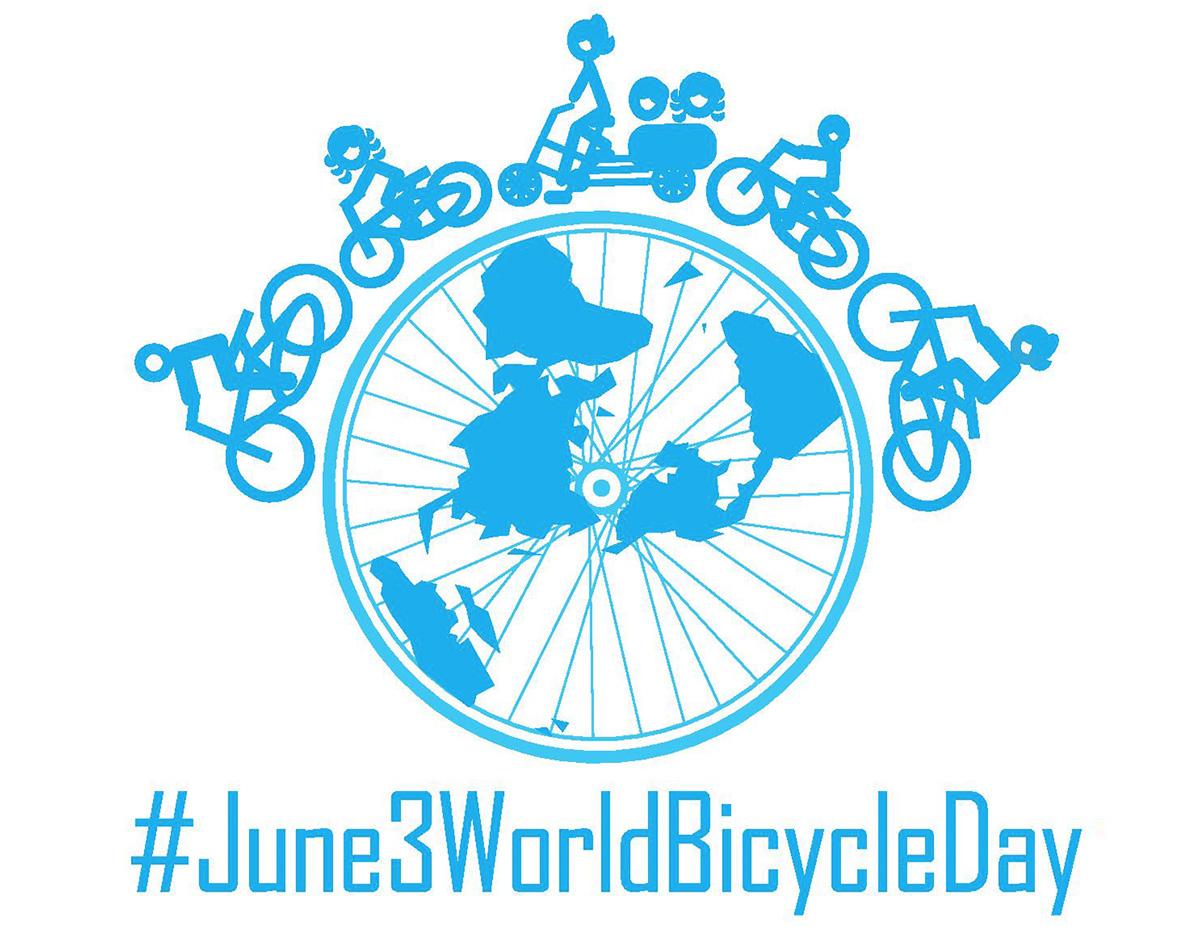Il logo ufficiale del World Bicycle Day con l'hashtag #June3WorldBicycleDay