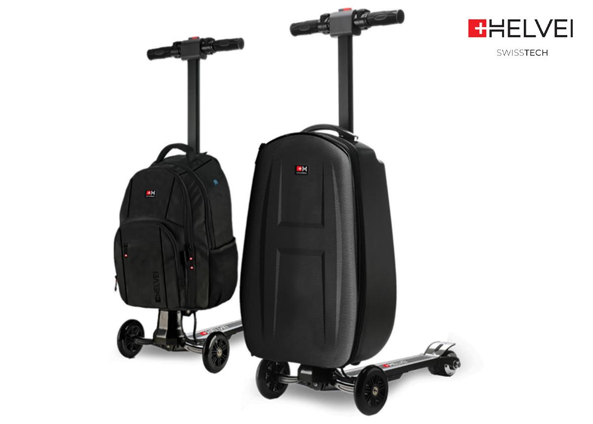 Il monopattino elettrico Helvei Scooter Suitcase & Backpack in colorazione nera e rappresentato nelle due diverse configurazioni: trolley rigido e zaino