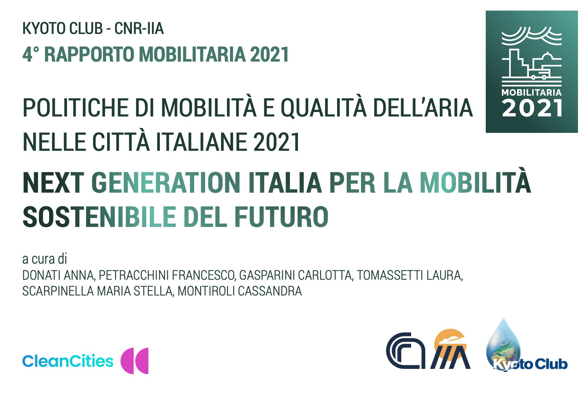 Il banner del rapporto Mobilitaria 2021 che raccoglie dati sull'inquinamento e la mobilità