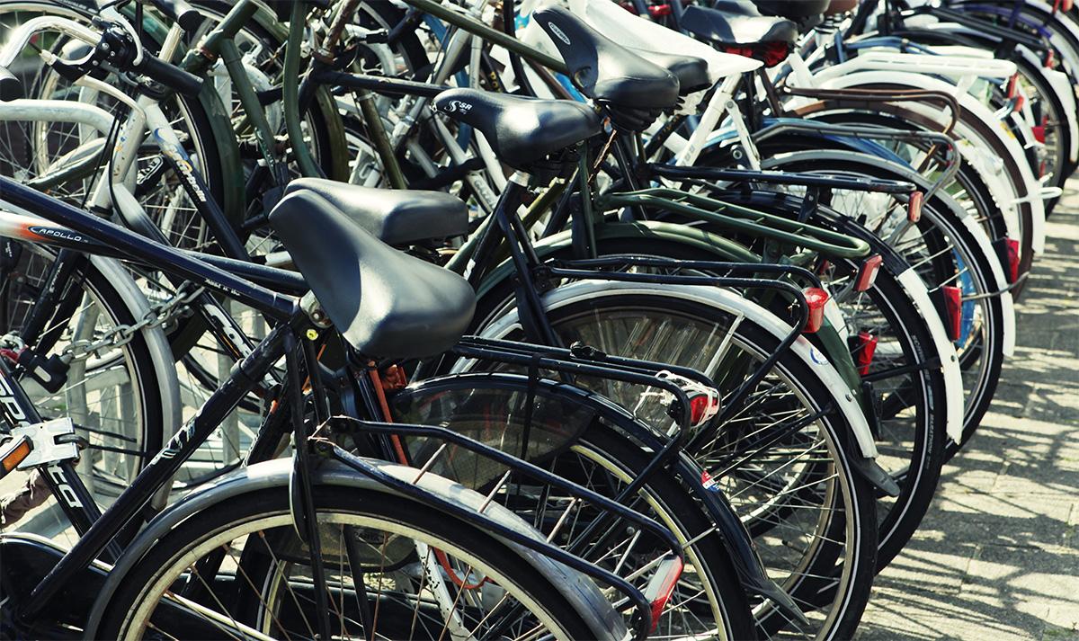 Una fila di biciclette parcheggiate in una rastrelliera in città