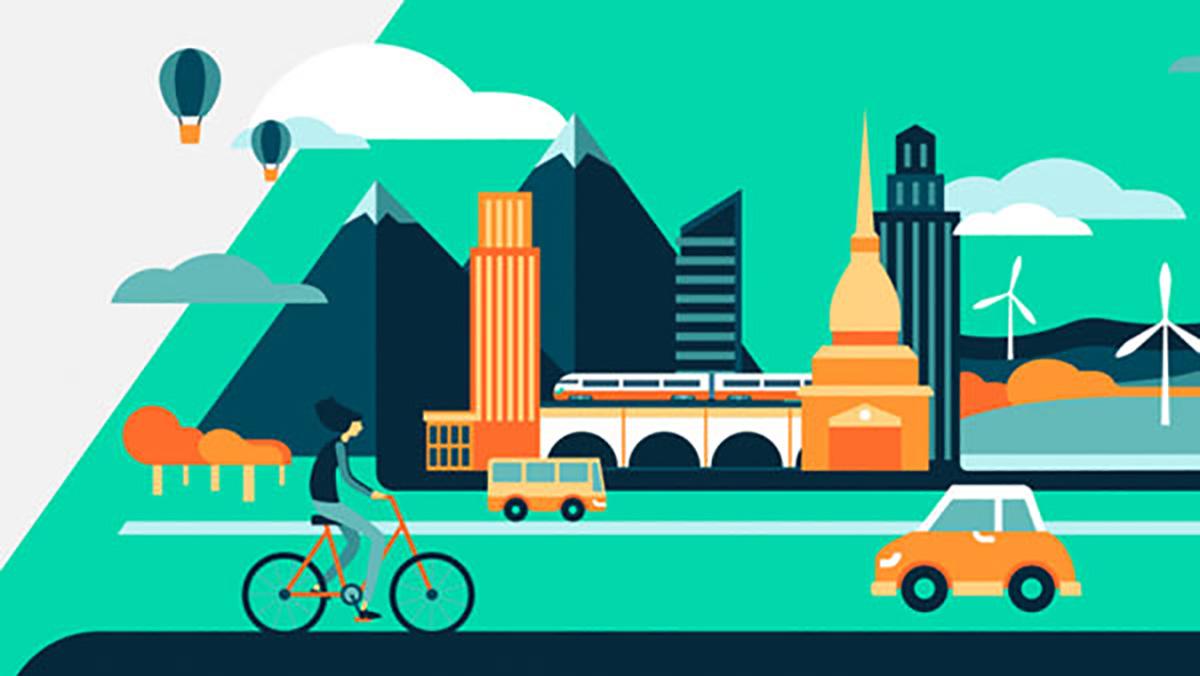 Uno schema stilizzando di una città con alcune forme di sharing mobility