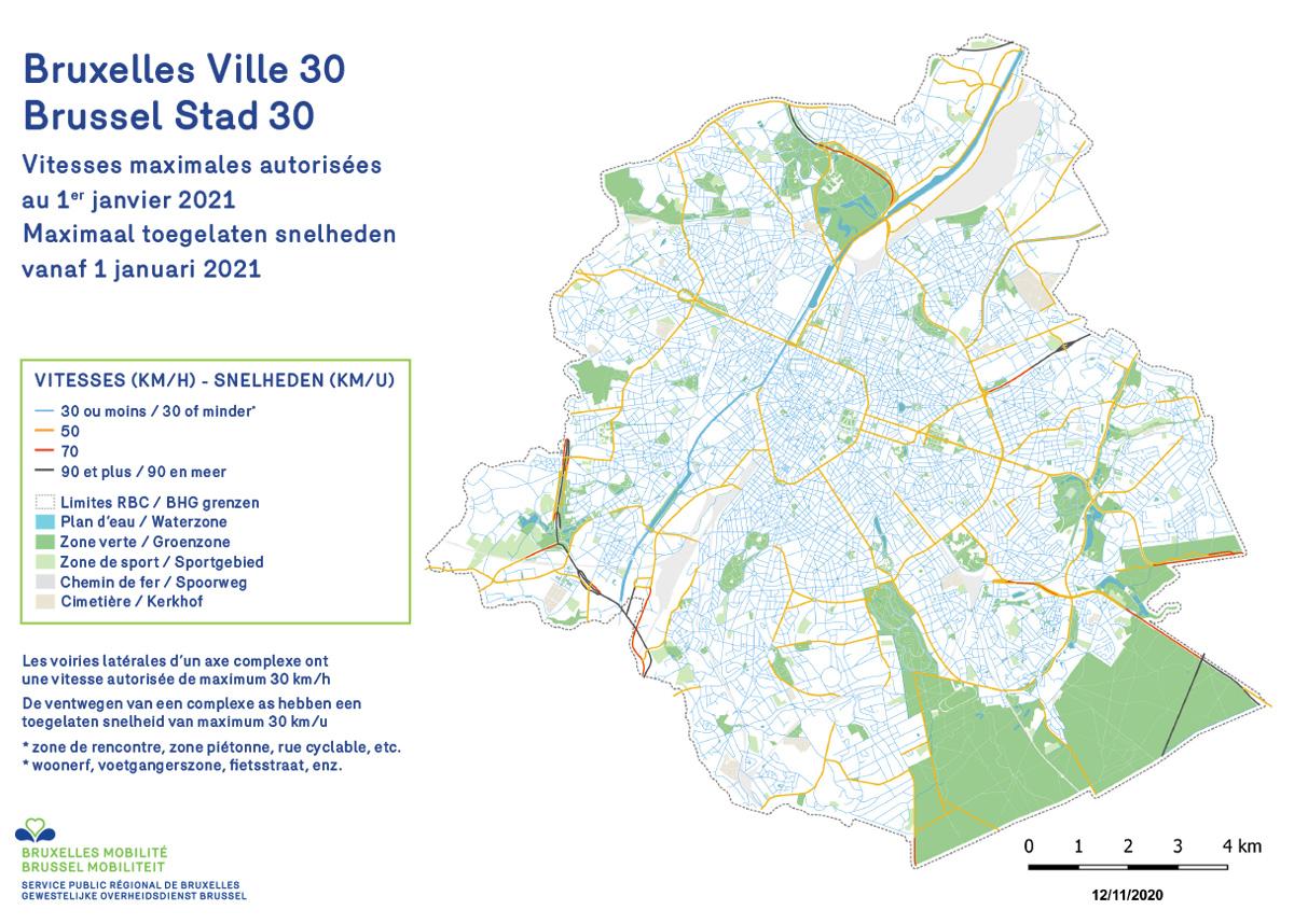 La mappa di Bruxelles con le strade che dal 1 gennaio 2021 prevedono il limite di 30 km orari