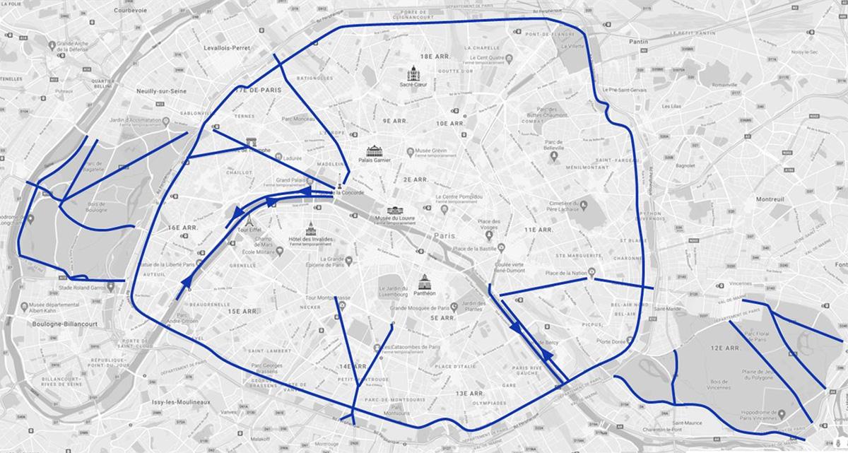 La mappa che mostra le uniche strade di Parigi rimaste con il limite a 50 km/h