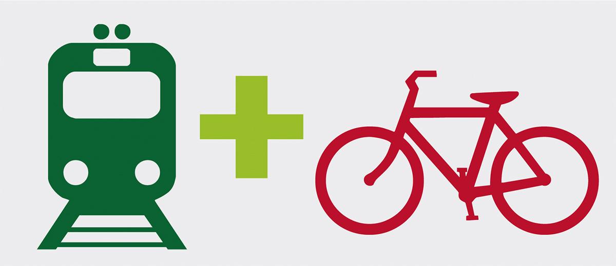 Il logo per l'intermobilità treno e bici della FIAB