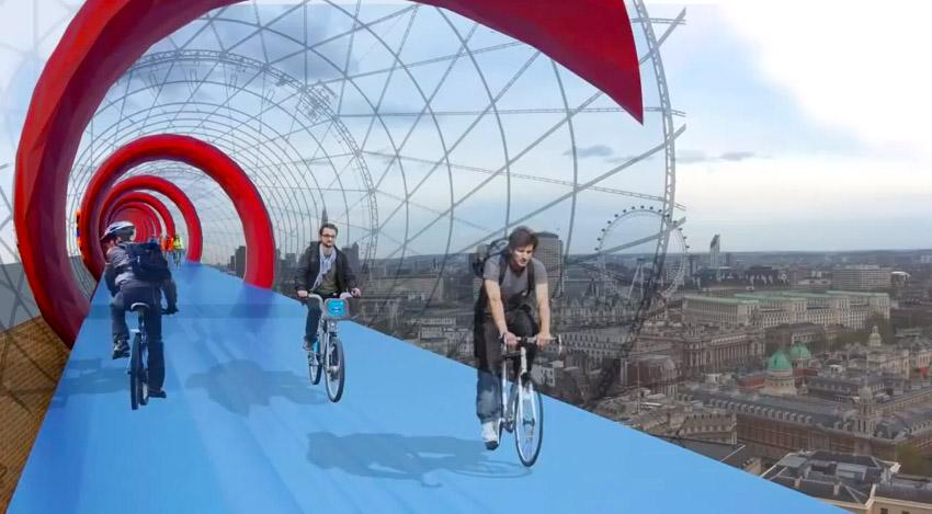Una simulazione di SkyCycle, strade per le bici sospese