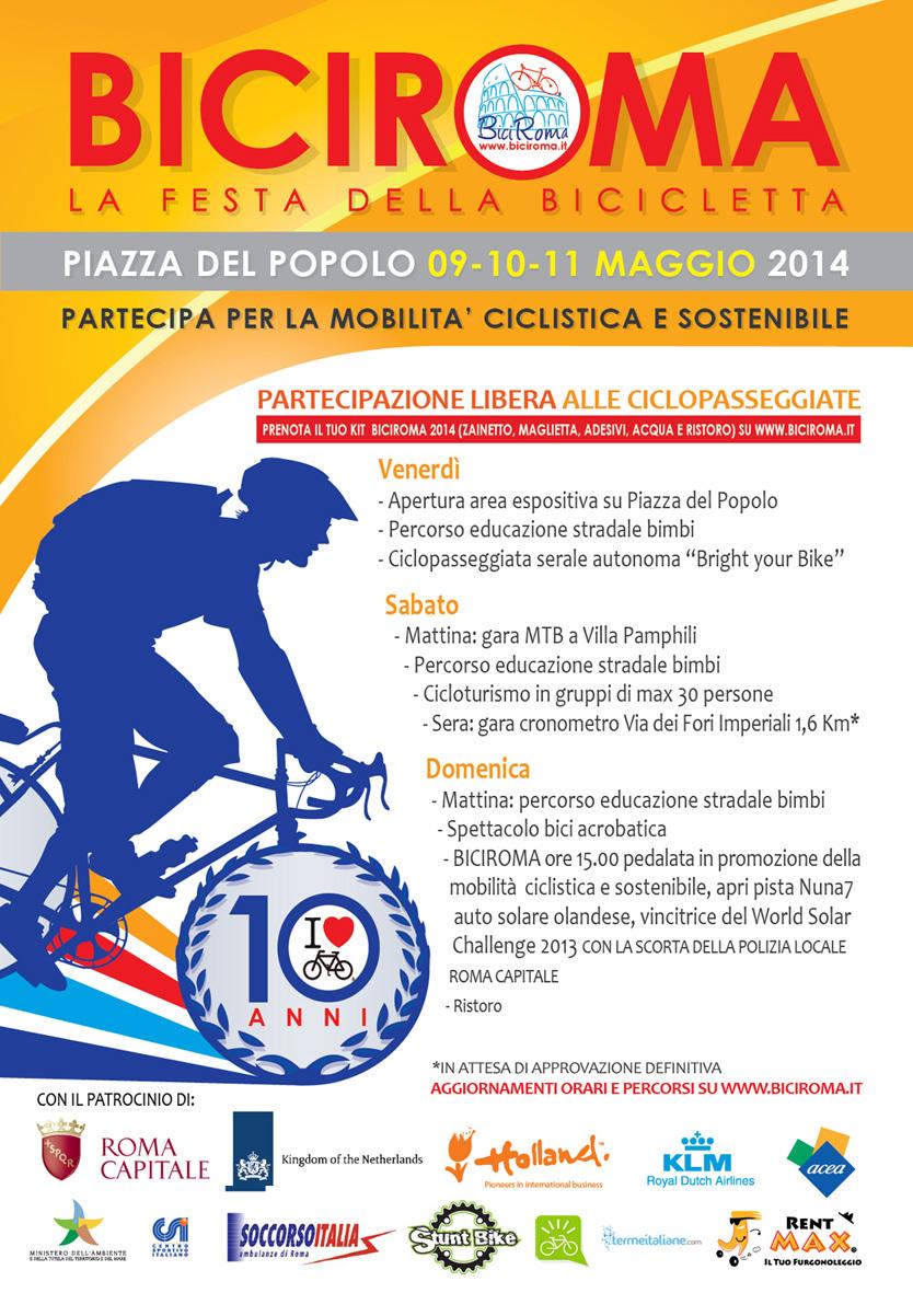 La locandina ufficiale di BiciRoma 2014