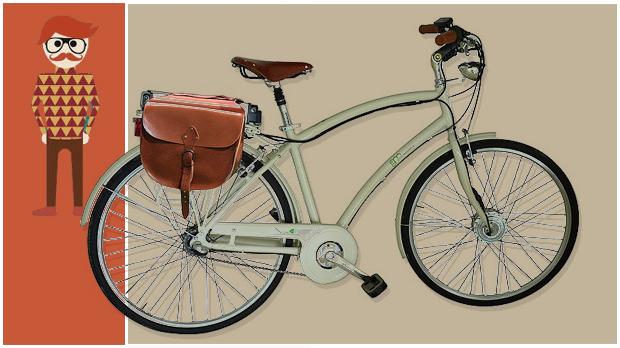 Una bicicletta accessoriata di borse laterali porta oggetti